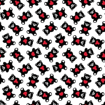 Bear polar seamless pattern heart teddy cartoon illustration