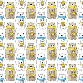 Bear polar seamless pattern honey cartoon illustration