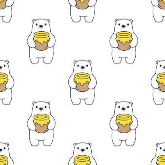Bear polar seamless pattern honey teddy cartoon
