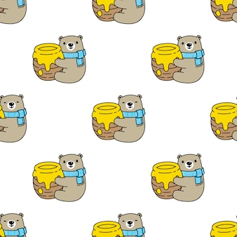Bear polar seamless pattern honey teddy
