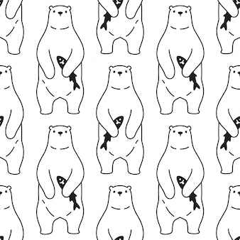 Bear polar seamless pattern illustration