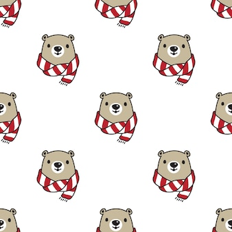 Bear polar seamless pattern scarf teddy