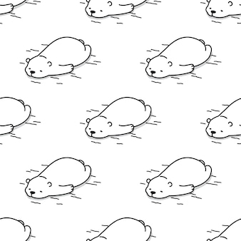 Bear polar seamless pattern sleeping