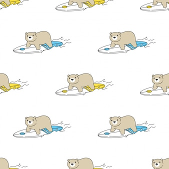Bear polar seamless pattern surfboard cartoon