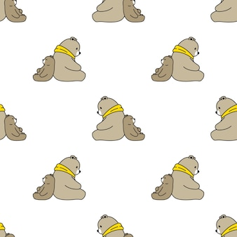 Bear polar seamless pattern teddy cartoon