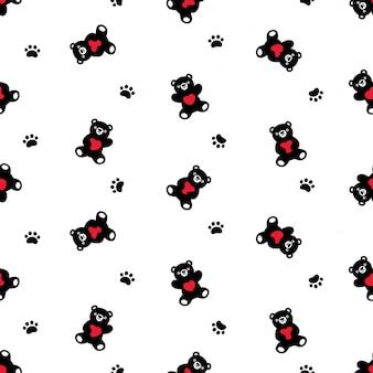 곰 북극 원활한 패턴 테 디 하트 발 발자국 만화