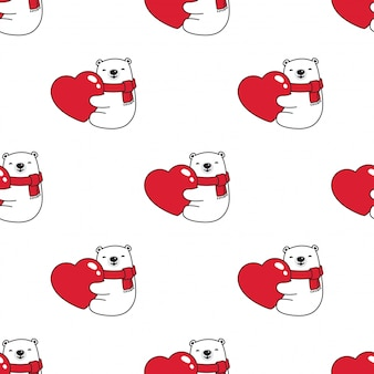 Bear polar seamless pattern valentine heart