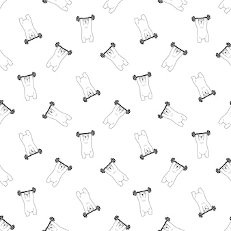 Bear polar seamless pattern weight training