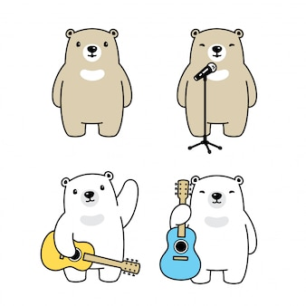 Bear polar singer guitar music cartoon