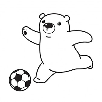 Bear polar soccer football cartoon