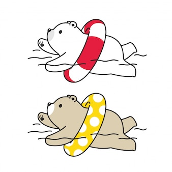 Bear polar swimming pool ring illustration