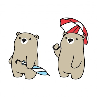 Bear polar umberlla character cartoon icon