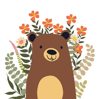 Bear Polar with Flower Doodle Illustration