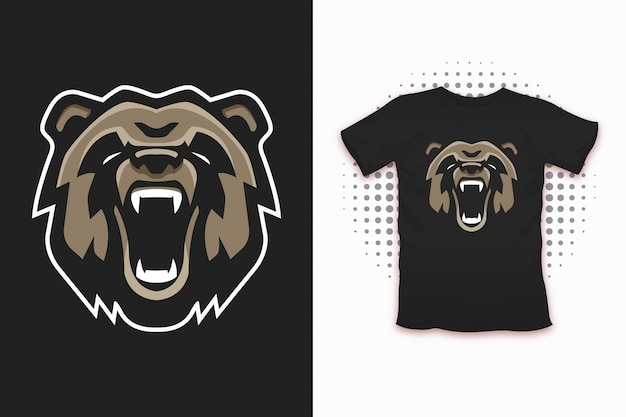 Bear print for t-shirt design