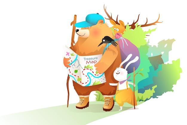 クマのウサギとムースは森の中で地図を持って旅行し、子供たちは自然の中で地図とバックパックを持って動物探検家を旅行します