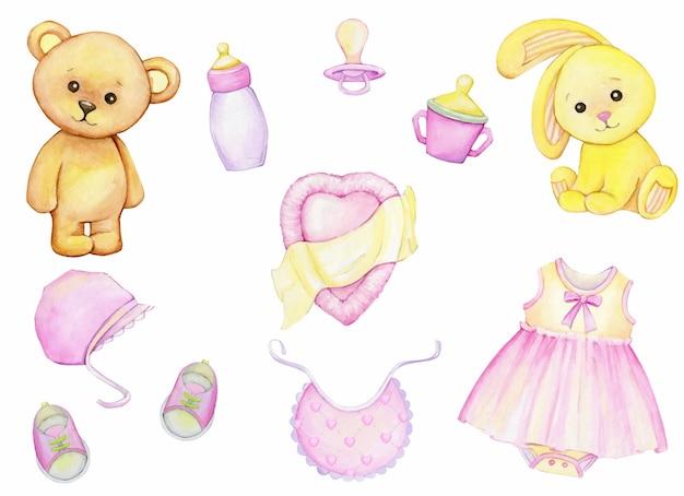 Bear, rabbit, pacifier, shoes, clothing, hat, mug, toys. watercolor set,