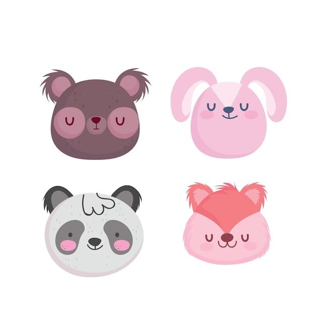 Медведь кролик панда и белка мультфильм дизайн, зоопарк животных и тема жизни