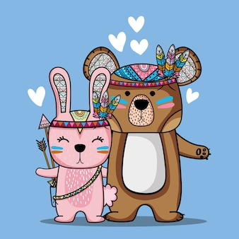 Bear and rabbit tribal animal with feathers