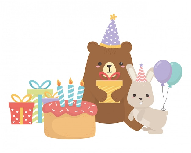 Bear and rabbit with happy birthday