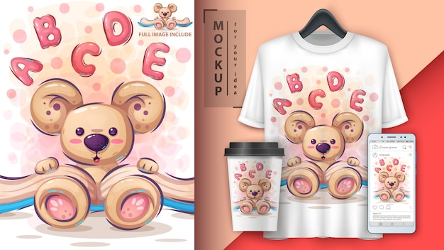 Bear read book illustration and merchandising