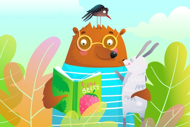 Bear reading book to rabbit and crow in forest leaves illustration for kids.