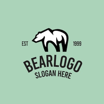 Bear retro logo template