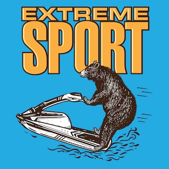Bear riding jet ski