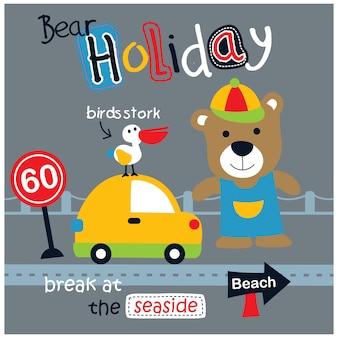 Bear on the road funny animal cartoon, vector illustration