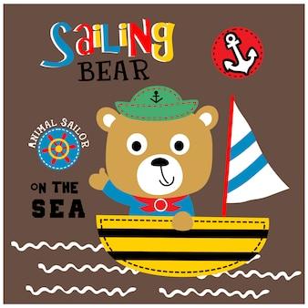 Bear the sailorman funny animal cartoon, vector illustration