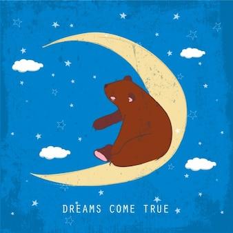 달 배경에 앉아 곰