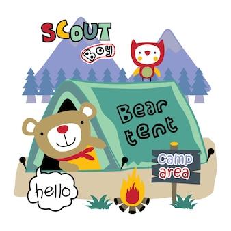 Bear the scoutboy funny animal cartoon