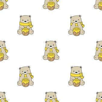 Bear seamless pattern honey cartoon
