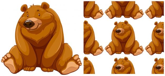 白で隔離されるクマのシームレスなパターン