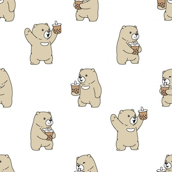 Bear seamless pattern polar boba milk tea cartoon