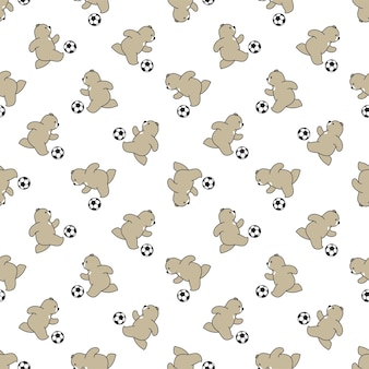 Медведь бесшовные модели полярный футбол футбол персонаж мультфильма