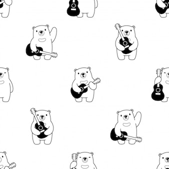 Bear seamless pattern polar guitar cartoon illustration