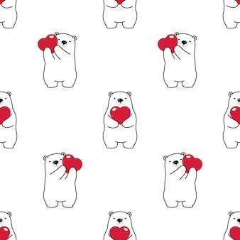 Bear seamless pattern polar heart valentine vector