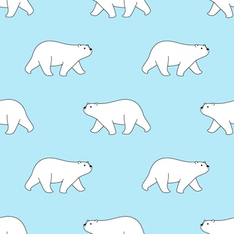 Bear seamless pattern polar walking cartoon illustration