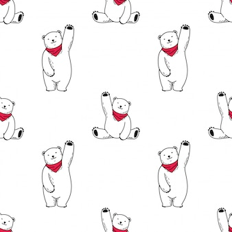 Bear seamless pattern polar