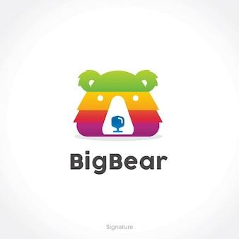 Шаблон логотипа медведь форма