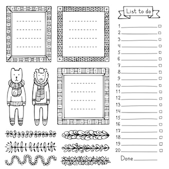 Bear sheep and set of hand drawn frames and dividers for bullet journal notebook diary