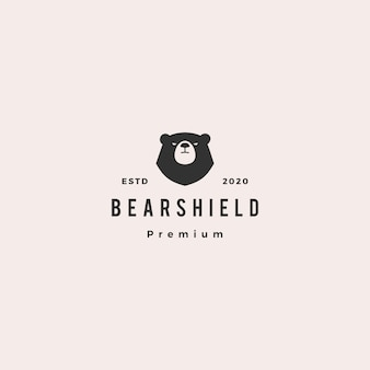 Bear shield logo hipster retro vintage icon illustration