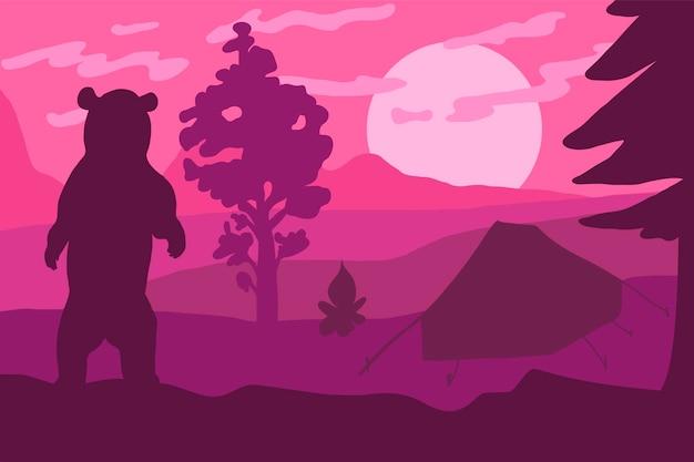 캠프 평면 벡터 컬러 일러스트에서 곰 실루엣입니다. 야생 동물, 자연 최소한의 배경
