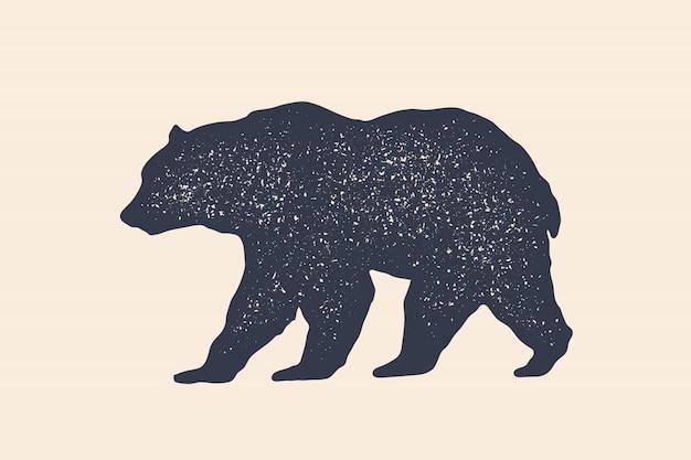 Медведь, силуэт. винтажный логотип, ретро-принт, плакат для мясной лавки