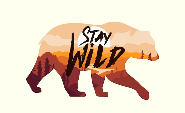 Bear silhouette with double exposure effect with mountains landscape and stay wild caption sticker or badge or logo design template isolated on white background
