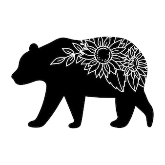 Bear silhouette with flowers vector illustration  isolated on white background