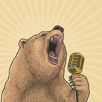 Bear singing loud with vintage michrophone hand drawing vector illustration