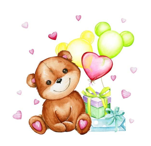 Медведь, сидя, подарки, воздушные шары, сердечки. акварель