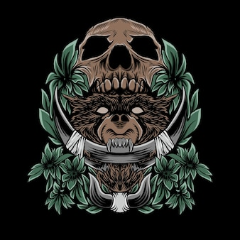 Bear and skull illustration with ornament