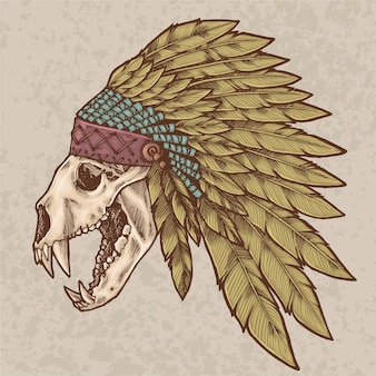 Bear skull wearing indian hat illustration